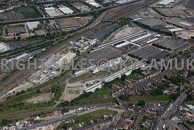 Birmingham aerial photograph of the Hansons aggregates plant Aston Church road and Old disused railway workshops Warren Road Common Lane Washway Heath