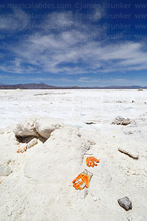 Orange work gloves on pile of salt, Salar de Coipasa, Oruro Department, Bolivia