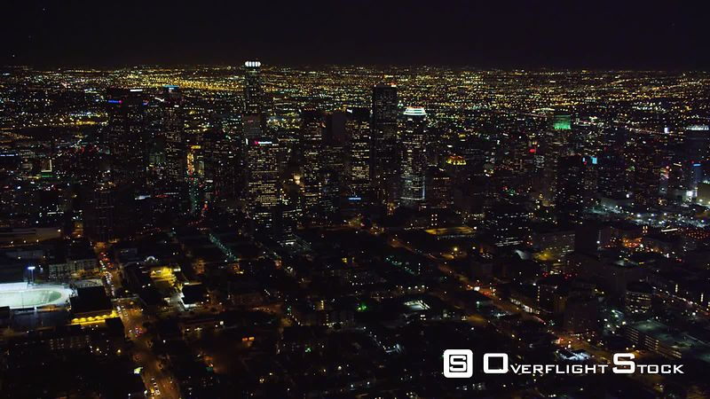 Over downtown Los Angeles at night. Shot in October