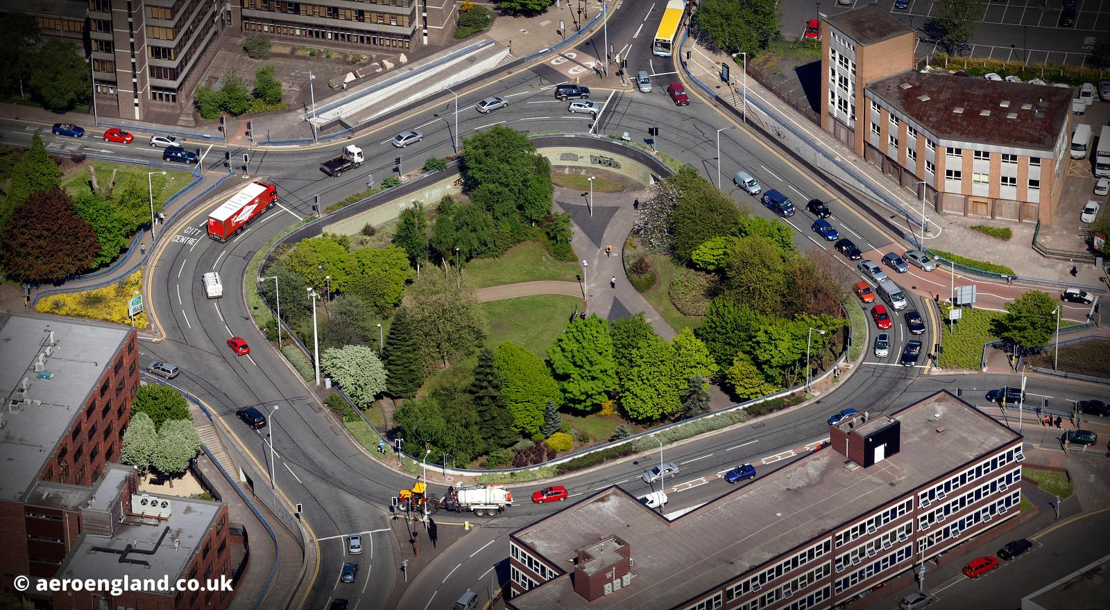 aerial photograph of Wolverhampton roundabout