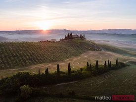Aerial view of Belvedere at sunrise, Tuscany, Italy