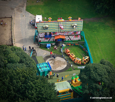 aerial photograph of Crooked House play area at Haigh Hall  Wigan, Lancashire UK