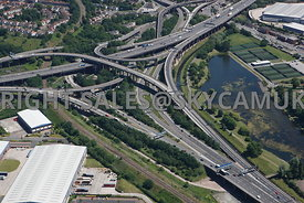 Birmingham high level aerial photograph of Spaghetti Junction M6 motorway