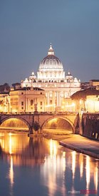 St. Peter's basilica at night, Vatican, Rome