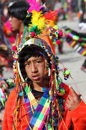 Portrait of tinku dancer at Chutillos festival, Potosí, Bolivia