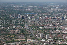 Birmingham high level wide angle aerial photograph of Skyline and urban environment of Birmingham looking down the A4540 Lee Bank Middleway looking towards Five Ways Hagley Road