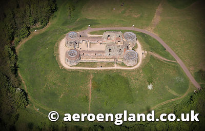 aerial photograph of  Stafford Castle  Staffordshire England UK