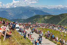 The Peloton and Mont Blanc - Tour de France 2018