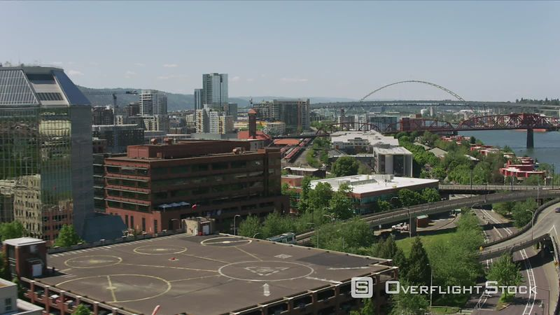 Portland, Oregon Daytime aerial shot of downtown Portland and MAX train.  Shot with Cineflex and RED EpicW Helium.