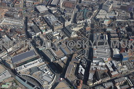 Liverpool high level view of the Retail Centre of the area surrounding Paradise Street and School Lane and Hanover Street Liverpool City Centre