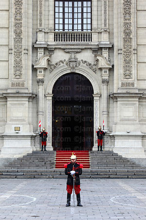 Ceremonial guards in front of government palace, Plaza de Armas, Lima, Peru