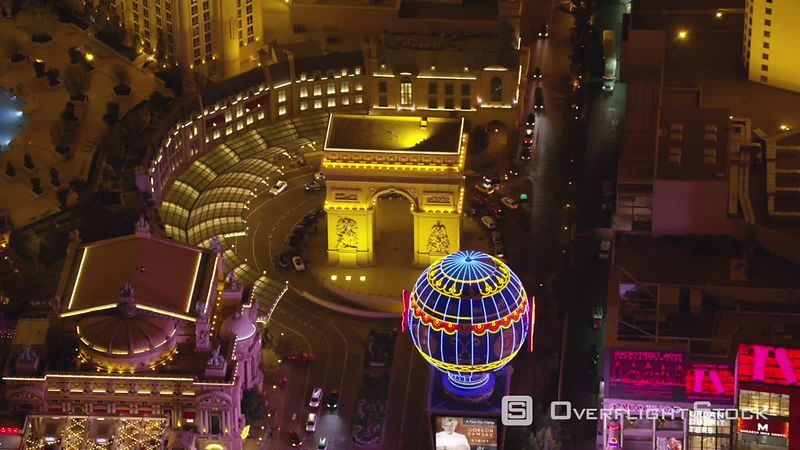 Las Vegas, Nevada Aerial view of Paris hotel and casino on the Las Vegas Strip.  Shot with Cineflex and RED EpicW Helium.