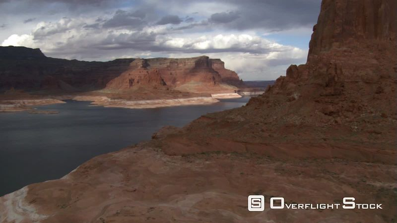 Flying toward narrow channel of Lake Powell