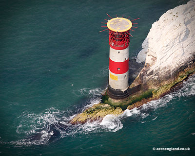aerial photograph of The Needles Lighthouse,  Isle of Wight  England UK