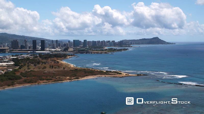 Flying past Honolulu with Diamond Head in distance.