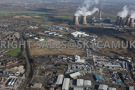 Widnes high level aerial photograph of old Industrial disused land between the St Helens Canal and Moss Bank road looking towards Gorsey Lane with Fiddlers Ferry in the background