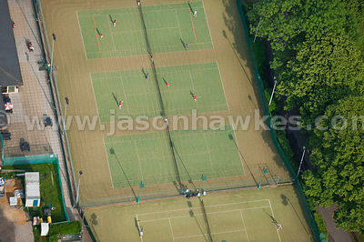 Aerial view of tennis courts
