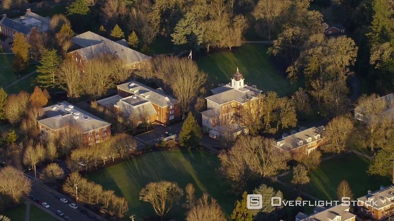 Aerial view of Linfield College in McMinnville, Oregon