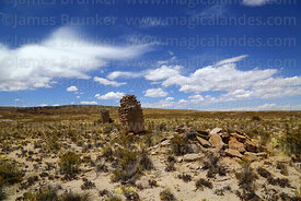 Ruined stone and adobe chulpas at Pumiri, Oruro Department, Bolivia