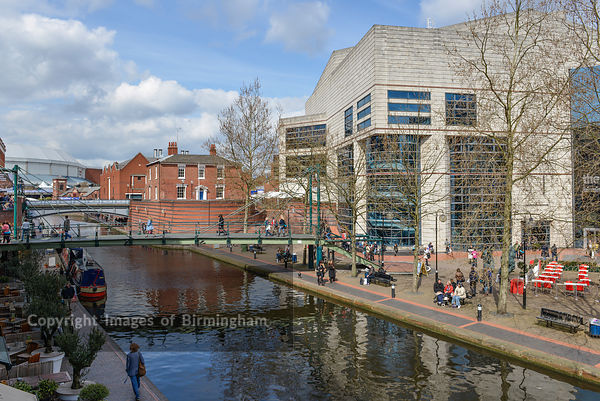 The International Convention Centre (ICC), Birmingham, England. Sitting alongside the canals in Brindleyplace.