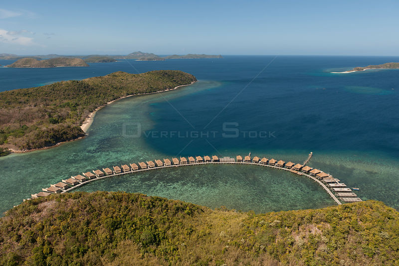 Aerial view of a tourist development at a new island resort, Philippines, April 2010