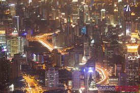 The Bund of Shanghai at night, aerial view, China