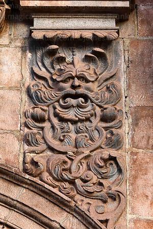Detail of Green Man figure above entrance of Compañia de Jesus Jesuit church, Cusco, Peru