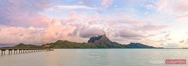 Panoramic of Mount Otemanu in the lagoon of Bora Bora at sunrise, French Polynesia