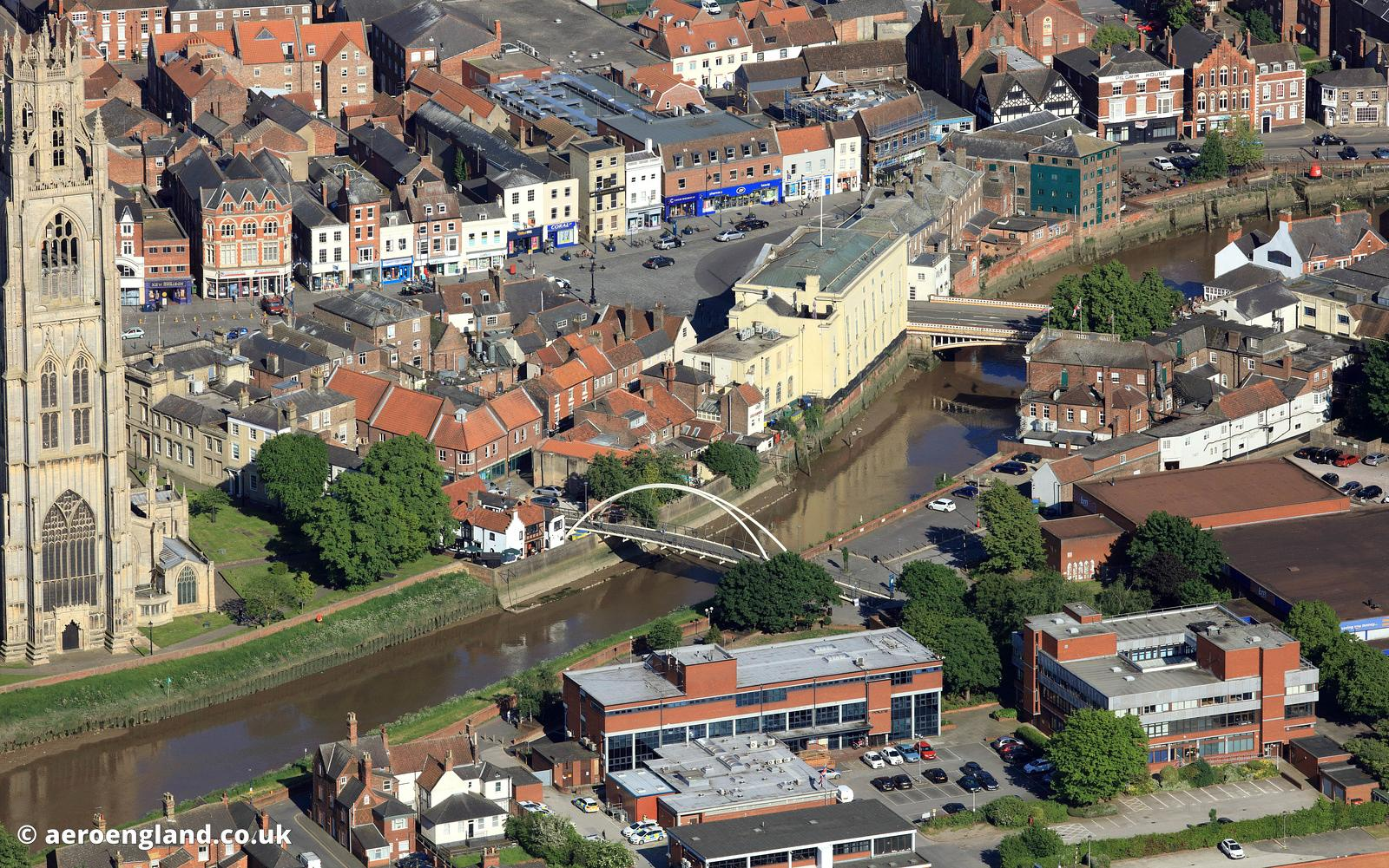 River Witham & St. Botolph's Bridge  at Boston, Linconshire aerial photograph