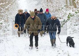 The Cottesmore Hunt on foot in Owston Big Wood, 19/1/13
