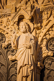 Christ statue on Saint Etienne cathedral's portal, Bourges