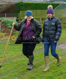 Lady Samworth and Charlotte Morgan at the meet - The Quorn Hunt at Markham House 21/12