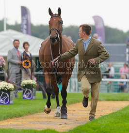 Matthew Heath and THE LION - The first vets inspection (trot up),  Land Rover Burghley Horse Trials, 3rd September 2014.