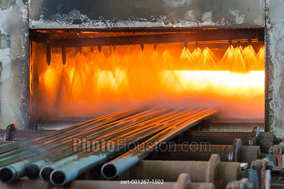Stainless steel tubes passing through a bright annealing furnace