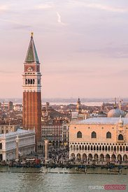 Elevated view of the city at sunset, Venice, Italy