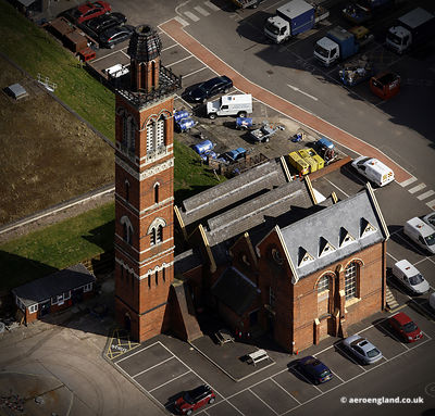 aerial photograph of  Edgbaston Pump House Birmingahm England UK.