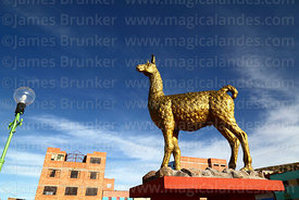 Llama statue in village square, Curahuara de Carangas, Oruro Department, Bolivia