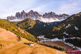 Aerial view of valley at sunset, Dolomites, Italy