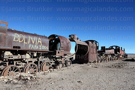 Old steam trains in train cemetery, Uyuni, Bolivia