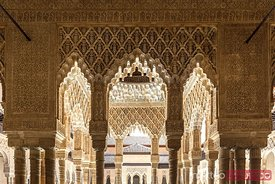 Ornate arches inside the Alhambra, Granada, Spain