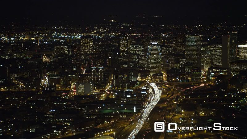 Approaching downtown Boston at night.