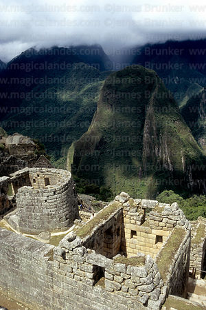 Sun Temple (left), Putu Cusi peak and Urubamba Canyon, Machu Picchu, Peru