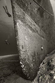 Bow of minesweeper wreck at about 90' underwater, Cozumel, Mexico