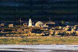 Rustic church and village of Chantani on shore of Salar de Uyuni, Bolivia