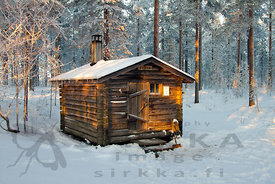 Wilderness Cabin of Koseva in December, temperature -29 decrees.