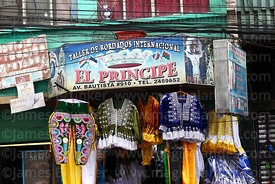 Detail of a shop that sells and rents festival costumes, La Paz, Bolivia