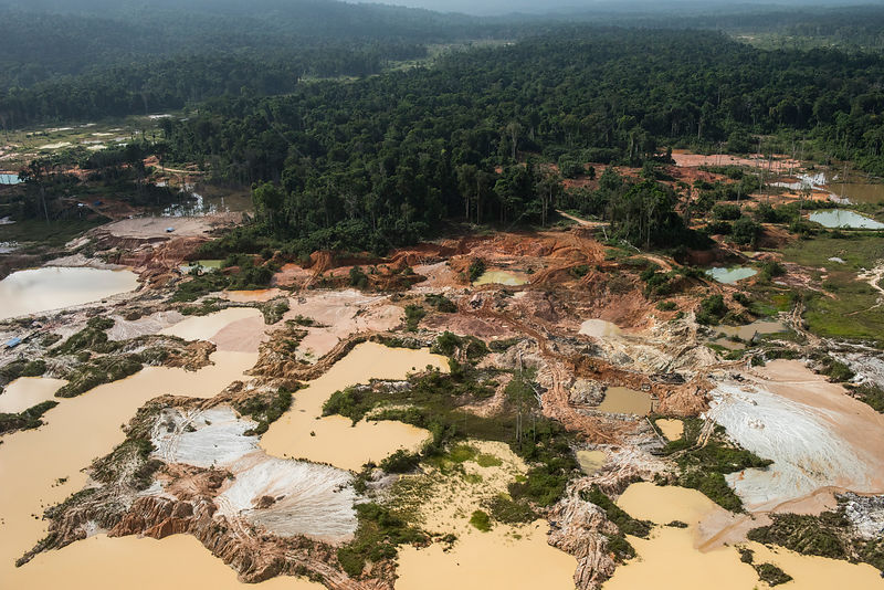 Aerial view of illegal gold mining in Arimu, Guyana, South America