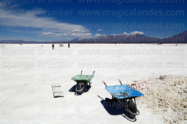 Wheelbarrows for moving salt on the Salar de Coipasa, Oruro Department, Bolivia