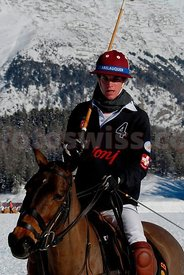 Guy Schwarzenbach of Team Brioni at the Polo on Snow Event in Saint St. Moritz