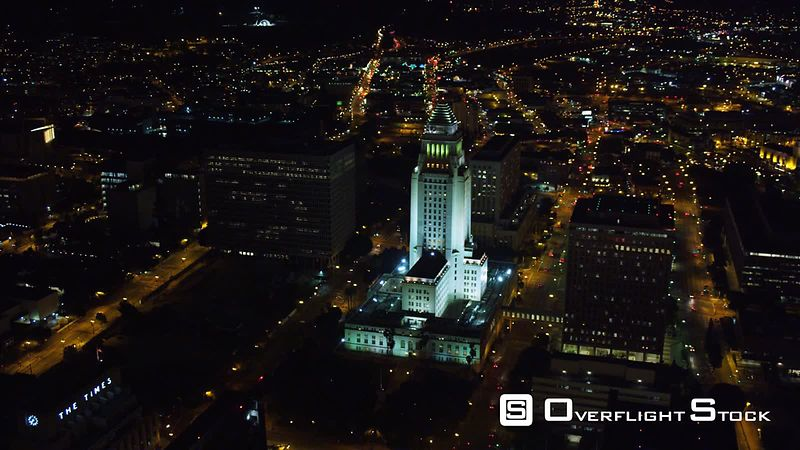 Flying past Los Angeles City Hall at night. Shot in October